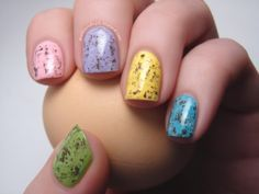 Easter eggs polish nail nailart art polish Spellbound Nails speckled dyed pink purple yellow blue green