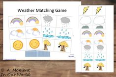 Weather Game Matching Cards Great Freebie for the younger children.   Weather Matching Game Cards