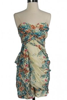 Dreaming of You Chiffon Drape Party Dress in Ivory/Blue Floral Print by Minuet #dress #springtime