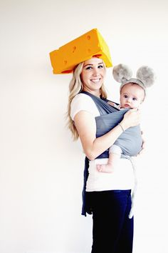 Babywearing Halloween Costume Idea: Mouse and Cheese