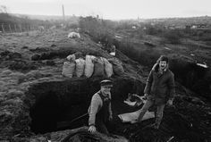 Striking miners picking coal on a spoil heap, Elsecar, South Yorkshire, 1984