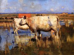 The Athenaeum - Landscape with Cattle (Joseph Crawhall - circa 1885)
