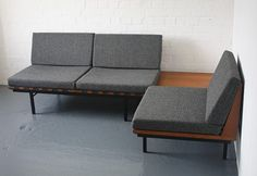 Form group sofas designed in 1960 by Robin Day for Hille and awarded a Design Centre Award in 1961. One two seater sofa and a one seater sofa with table.