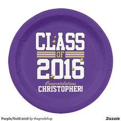 Purple/Gold 2016 Paper Plate  sc 1 st  Pinterest & Personalized Graduation Paper Plate | Graduation Paper and Plates