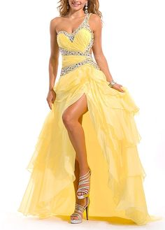 Amazing Organza & Satin A-line One Shoulder Ruffled High Low Prom Dress With Beadings. Get superb discounts up to Off at Dressilyme with Coupon and Promo Codes. Open Back Prom Dresses, High Low Prom Dresses, Prom Dresses 2017, Sexy Wedding Dresses, Cheap Wedding Dress, Ball Dresses, Sexy Dresses, Strapless Dress Formal, Beautiful Dresses