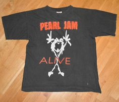 RaRe *1991-92 PEARL JAM* vtg grunge rock concert shirt (M/L) 1990's Eddie Vedder   eBay