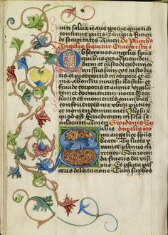 Decorated Initial S; Workshop of Valentine Noh (Bohemian, active 1470s); Prague, Bohemia, Czech Republic; about 1470 - 1480; Tempera, shell gold, and gold leaf on parchment; Leaf: 14.1 x 10.2 cm (5 9/16 x 4 in.); Ms. 28, fol. 264v; J. Paul Getty Museum, Los Angeles, California Medieval Books, Medieval Manuscript, Illuminated Letters, Illuminated Manuscript, History Of Calligraphy, Illumination Art, Book Of Kells, Getty Museum, Book Of Hours