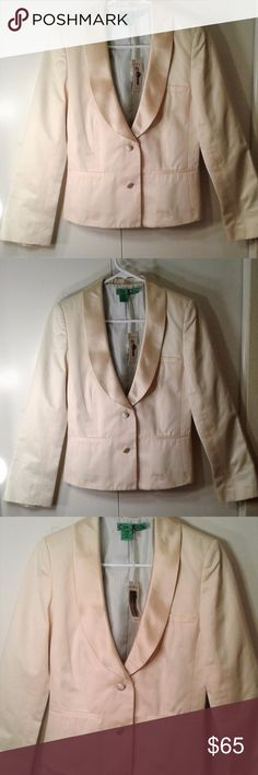 NWT Tibi Champagne Tuxedo Jacket Blazer, size 4 Tibi Tuxedo Jacket: - Champagne or rich cream color - 100% cotton exterior - Lapels and buttons have a satin-like finish - Tuxedo-like detailing - Two front buttons - Three buttons on sleeves - Jaunty blue and white striped lining - New with tags! Never been worn! - Jacket acquired at sample sale. Size label has been cut, but t is size 4 as indicated on the tag. - Runs slightly small. Please compare to measurements.  Approx. Measurements…