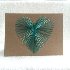 Handmade Embroidered Heart Card on Brown Kraft Stock w/ envelopes in 10 colors…