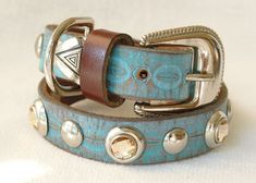 Beautiful handmade leather dog collar made from repurposed belts.