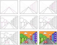 Draw a City with One Point Perspective · Art Projects for Kids Perspective Drawing Lessons, One Point Perspective, Perspective Art, Art Drawings Sketches Simple, Art Drawings For Kids, Drawing For Kids, Art Lessons For Kids, Art Lessons Elementary, Art For Kids