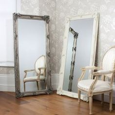 Full length ornate Abbey cream mirror with French style frame ideal for use as a leaner mirror in your bedroom. Product size: 167 x