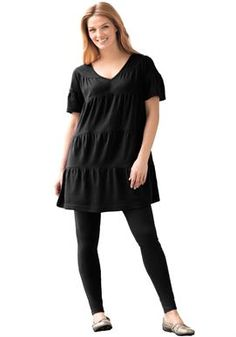 Tunic top in tiered design and legging set in soft knit | Plus Size Dresses & Skirts | Woman Within