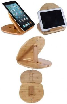 ideas diy wood holder ipad stand for 2019 Diy Ipad Stand, Wood Ipad Stand, Wood Phone Stand, Ipad Holder, Tablet Holder, Tablet Stand, Wood Shop Projects, Small Wood Projects, Support Telephone