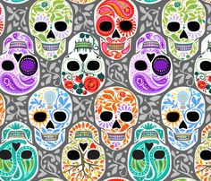 Calaveras_celebración del Color y Gris_Lg fabric by robinpickens on Spoonflower - custom fabric
