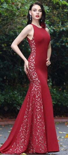 eDressit Burgundy Lace Prom Ball Gown