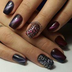 Acrylic nails, Christmas nails, Cold nails, Cool nails, Embossed nails, Ideas of winter nails, Iridescent nails, Magic nails