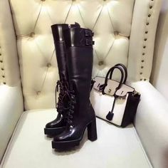 135.14$  Watch now - http://aiz5d.worlditems.win/all/product.php?id=32787857296 - 2016 Autumn/Winter Shows Woman Knee High Boots Leather Side Zip Lace Up Platform Mujer Knight Booties Luxury Design Superstar