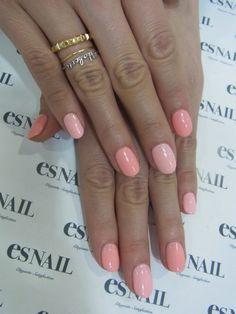 Pink shaded nails.