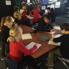 """Washington Discovery Academy first grade students in Mrs. Jennifer Knebel's class were busy today showing Santa how well they can write! The class assignment was to write their holiday wish list to Santa! They are pretty confident that Snowflake, the classroom """"Elf on a shelf"""" is going to take the letters to Santa for them. :) #WDAPlymouth #PlymouthCSC_IN"""