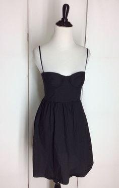 Victoria's Secret Moda International Sz 2 100% Cotton Black Corset Dress XS #ModaInternational #Corset #LittleBlackDress