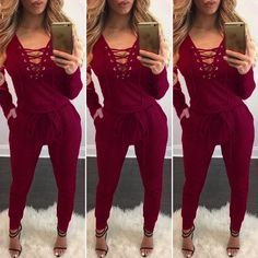 02b054baff3 Long Sleeve Lace Up Deep V-neck Draw String Waist Long Jumpsuit