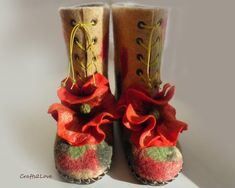Felted slippers  Poppies  women high wool in-house от Crafts2Love