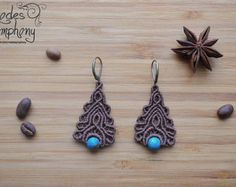 Macrame Jewelry New Gleam Earrings CORAL by MacrameLoveJewelry