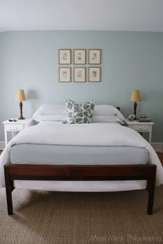 Benjamin Moore Palladian Blue is one of the most popular blue, green, gray blend paint colours. Shown in bedroom with sisal rug