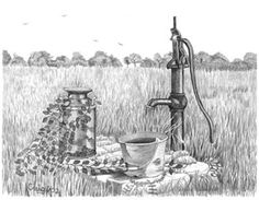 Old Fashioned Water Pump Pencil Sketch   OnlineCoolGifts.com