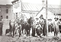 History of Blackfoot: The Making of a Town - Early settlers of Bingham County plow Main Street in Blackfoot, Idaho.