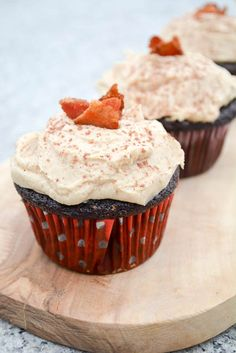Dark Chocolate Bacon Cupcakes with Peanut Butter Buttercream
