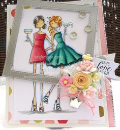 Spotted On Sunday at Stamping Bella - Sue Hastead's Uptown Girls Victoria & Juliette Card