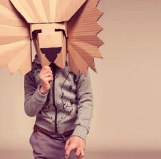 10 DIY Cardboard & Paper Masks for Halloween is part of Cardboard crafts Mask - These 10 super creative paper mask ideas are sure to spark your imagination this Halloween! Cardboard Mask, Cardboard Paper, Cardboard Crafts, Diy Paper, Cardboard Costume, Paper Toys, Diy Halloween, Maske Halloween, Halloween Masks