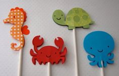 Under the Sea Ocean Birthday Cupcake Toppers 24 by AnyGoodIdeas, $10.00