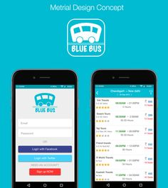 """Behance :: Material design Android """"Blue Bus"""" by vvk swami"""
