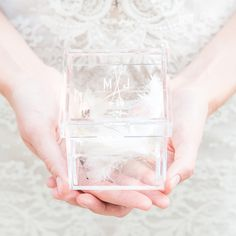 Monogrammed Arrow & Feather Lucite Wedding Ring Box