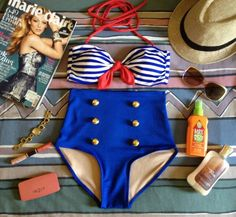 One Size Sailor Highwaist Swimsuit - $50