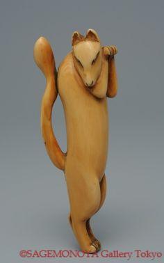 Dancing Fox. Ivory Netsuke. Unsigned. 18th C. 根付 踊狐 象牙刻