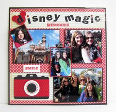 LOVE the little camera on this Disney scrapbook layout! - Could even add mouse ears to the camera