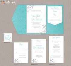 DIY Custom Wedding Invitation Suite - Beach Sea Shells Design Customized Printable PDF. $45.00, via Etsy.