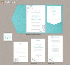 DIY Custom Wedding Invitation Suite - Beach Sea Shells Design Customized Printable PDF. $45.00, via Etsy.