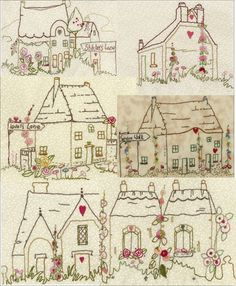 Iron On Hand Embroidery Patterns | The Village Square Collection No 1