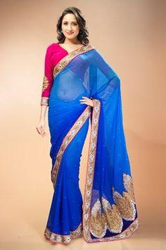 Sarees,Admyrin,Blue Chiffon Shaded Saree With Pink Velvet Blouse Piece