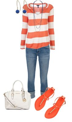 """Coral and Blue"" by wcatterton on Polyvore"