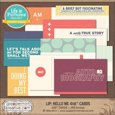 LIP: Hello Me 4x6 Journal Cards Peppermint Creative, Digital Scrapbook Supplies  #AAM #aboutme #me #projectlife