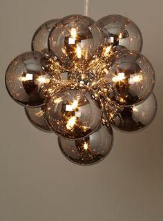 BHS // Illuminate // Malachy Ball Pendant // Smoke electroplated glass shades in a sputnik style pendant light Lounge Lighting, Cool Lighting, Modern Lighting Design, Ball Pendant Lighting, Ceiling Pendant Lights, Ball Lights, Mirror With Lights, Lights, Light