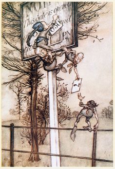 These tricky fairies sometimes change the board on ball night.    Arthur Rackham, from Peter Pan in Kensington gardens, by James Matthew Barrie, New York, 1910.