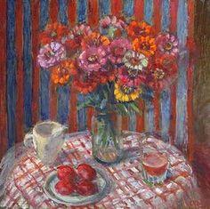 . Australian Painters, Australian Artists, Flower Vases, Flower Art, Margaret Preston, Australian Flowers, National Art, Everyday Objects, Zinnias