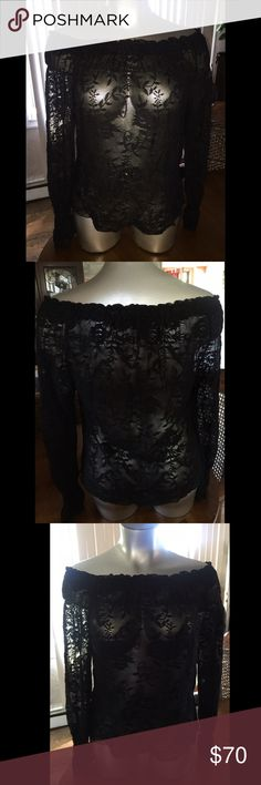 """Black Lace Bardot Top ✨ PLUS SIZE Sheer lace Bardot top with elastic top and wrists. Lightweight, flowy, and stretchy. Can be worn as a cover up , nighty, or paired with jeans and heels . 23"""" long. Lane Bryant Tops"""